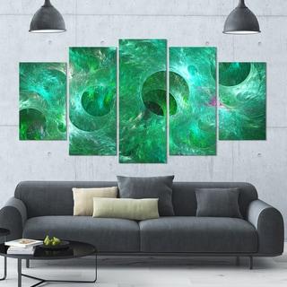 Designart 'Green Fractal Glass Texture' Abstract Artwork on Canvas - 60x32 - 5 Panels Diamond Shape