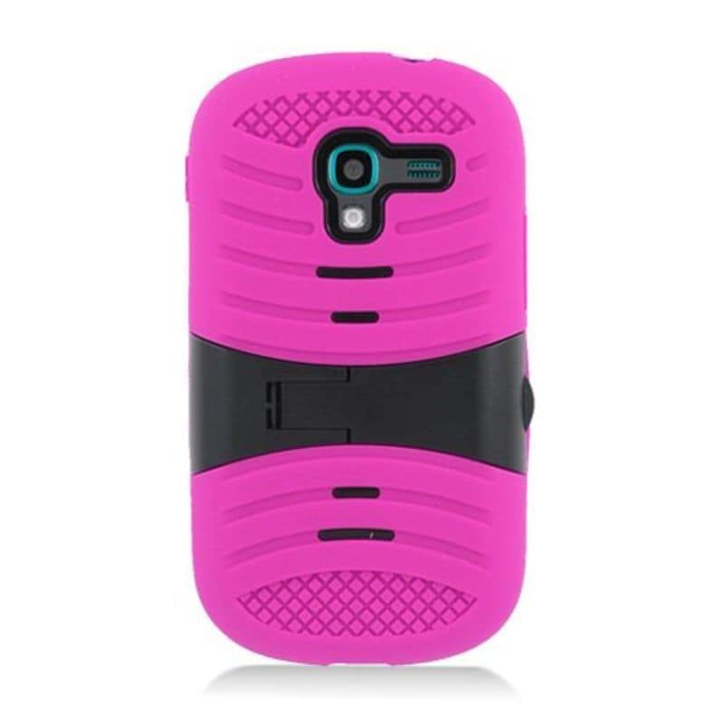 Insten Hot Pink/ Black Wave Symbiosis Soft Silicone/ PC R...
