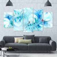Designart 'Blue White Fractal Glass Texture' Abstract Artwork on Canvas - 60x32 - 5 Panels Diamond Shape