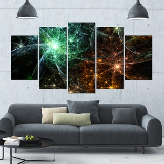Designart 'Green Orange Colorful Fireworks' Abstract Artwork on Canvas - 60x32 - 5 Panels Diamond Shape