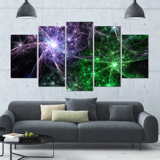 Designart 'Green Purple Colorful Fireworks' Abstract Art on Canvas - 60x32 - 5 Panels Diamond Shape