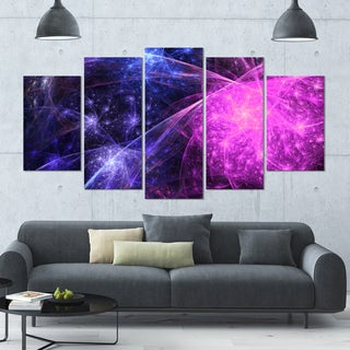Designart 'Purple Pink Colorful Fireworks' Abstract Art on Canvas - 60x32 - 5 Panels Diamond Shape