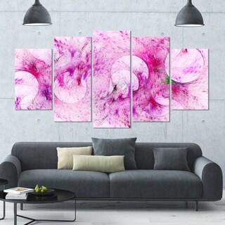 Designart 'Pink White Fractal Glass Texture' Abstract Artwork on Canvas - 60x32 - 5 Panels Diamond Shape