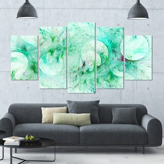 Designart 'Green Circles Fractal Texture' Abstract Artwork on Canvas - 60x32 - 5 Panels Diamond Shape