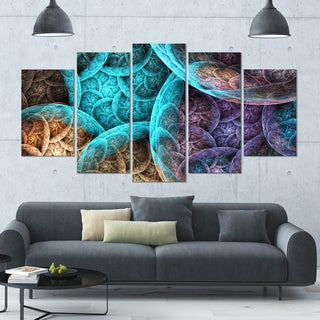 Designart 'Colorful Dramatic Clouds' Abstract Art on Canvas - 60x32 - 5 Panels Diamond Shape