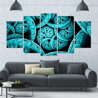 Designart 'Blue Dramatic Clouds' Abstract Art on Canvas - 60x32 - 5 Panels Diamond Shape
