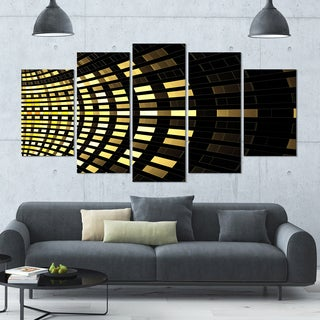Designart 'Abstract Fractal Gold Square Pixel' Abstract Art on Canvas - 60x32 - 5 Panels Diamond Shape