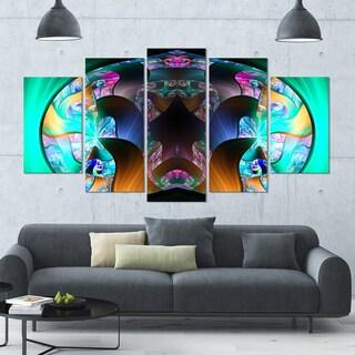 Designart 'Blue Capsule in Plasma' Abstract Artwork on Canvas - 60x32 - 5 Panels Diamond Shape