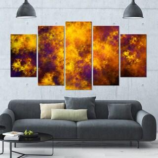 Designart 'Cloudy Orange Starry Fractal Sky' Abstract Artwork on Canvas - 60x32 - 5 Panels Diamond Shape