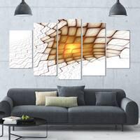 Designart 'Yellow Flames on White Blocks' Abstract Art on Canvas - 60x32 - 5 Panels Diamond Shape