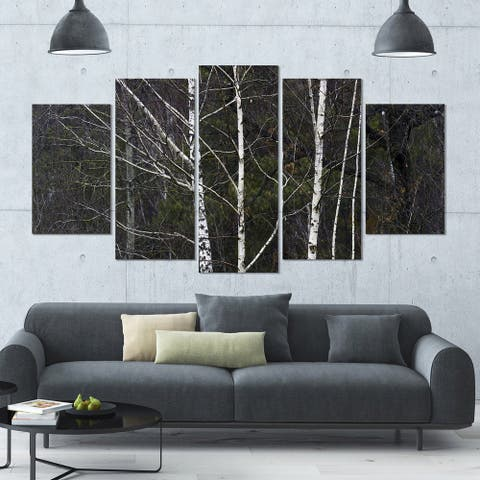 Designart 'Black and White Birch Forest' Abstract Wall Art Canvas - 60x32 - 5 Panels Diamond Shape - Black