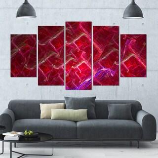 Designart 'Red Fractal Electric Lightning' 60x32 5-panel Diamond Shaped Abstract Art on Canvas