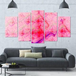 Designart 'Pink Fractal Electric Lightning' Abstract Art on Canvas - 60x32 - 5 Panels Diamond Shape