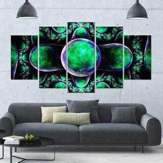 Designart 'Green Exotic Fractal Pattern' Abstract Art on Canvas - 60x32 - 5 Panels Diamond Shape