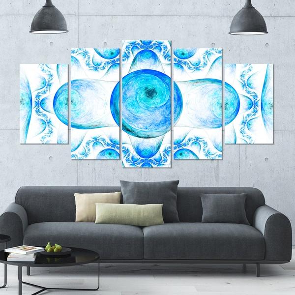 Designart 'Blue Exotic Fractal Pattern' Abstract Art on Canvas - 60x32 - 5 Panels Diamond Shape