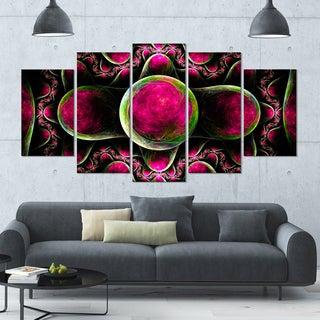 Designart 'Pink Exotic Fractal Pattern' Abstract Art on Canvas - 60x32 - 5 Panels Diamond Shape