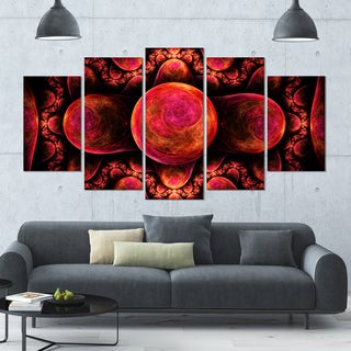 Designart 'Red Exotic Fractal Pattern' Abstract Art on Canvas - 60x32 - 5 Panels Diamond Shape