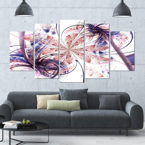 Designart 'Blue Pink Fractal Flower Pattern' Abstract Wall Art Canvas - 60x32 - 5 Panels Diamond Shape