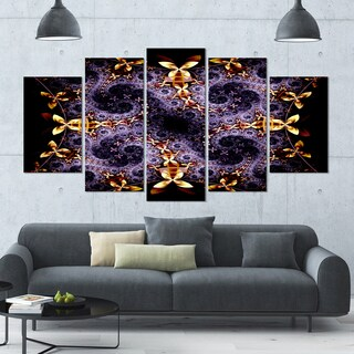 Designart 'Yellow and Violet Fractal Flower' Abstract Wall Art Canvas - 60x32 - 5 Panels Diamond Shape