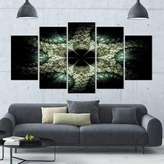 Designart 'Yellow and Green Fractal Flower' Abstract Wall Art Canvas - 60x32 - 5 Panels Diamond Shape