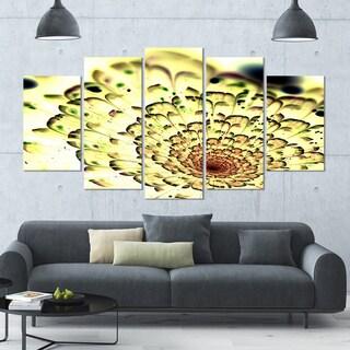 Designart 'Green Light Fractal Flower Pattern' Abstract Wall Art Canvas - 60x32 - 5 Panels Diamond Shape