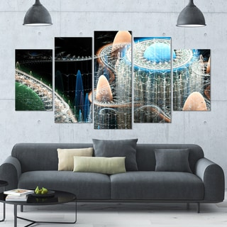 Designart 'Blue Fractal Infinite World' 60x32 5-panel Diamond Shaped Abstract Art on Canvas