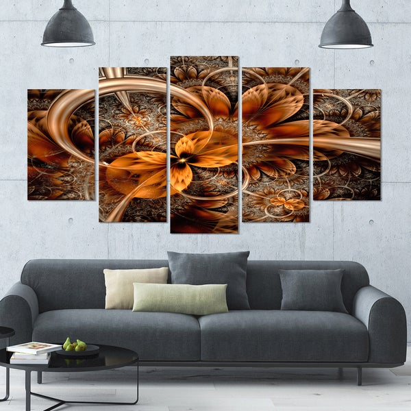 Designart 'Dark Orange Fractal Flower' Abstract Canvas Art Print - 60x32 - 5 Panels Diamond Shape - Orange/Multi-Color. Opens flyout.