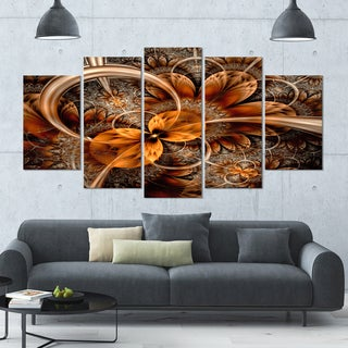 Designart 'Dark Orange Fractal Flower' Abstract Canvas Art Print - 60x32 - 5 Panels Diamond Shape