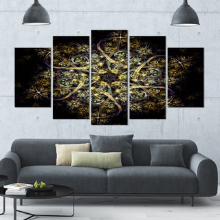 Designart 'Black Yellow Fractal Flower Pattern' Abstract Wall Art Canvas - 60x32 - 5 Panels Diamond Shape