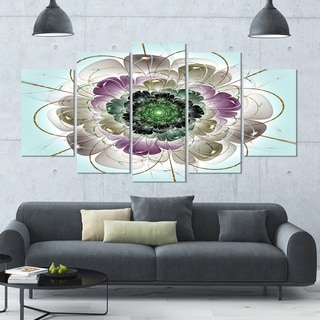 Designart 'Dark Blue Fractal Flower Pattern' Abstract Wall Art Canvas - 60x32 - 5 Panels Diamond Shape