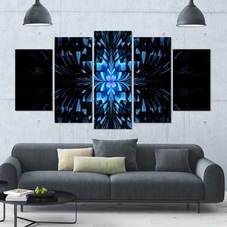 Designart 'Blue Butterfly Pattern on Black' Abstract Art on Canvas - 60x32 - 5 Panels Diamond Shape