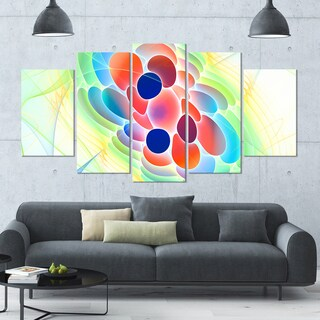 Designart 'Fractal Virus under Microscope' Abstract Wall Art Canvas - 60x32 - 5 Panels Diamond Shape