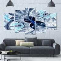 Designart 'Dark Blue Purple Fractal Flower' Abstract Wall Art on Canvas - 60x32 - 5 Panels Diamond Shape