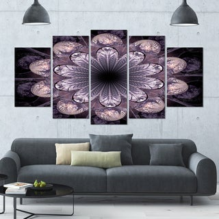 Designart 'Dark Pink Fractal Flower Pattern' Abstract Wall Art on Canvas - 60x32 - 5 Panels Diamond Shape