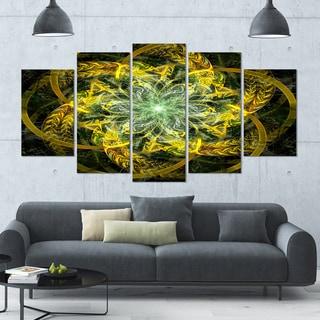 Designart 'Yellow and Green Fractal Flower' Abstract Wall Art on Canvas - 60x32 - 5 Panels Diamond Shape