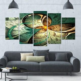 Designart 'Dark Yellow Green Fractal Flower' Abstract Wall Art on Canvas - 60x32 - 5 Panels Diamond Shape