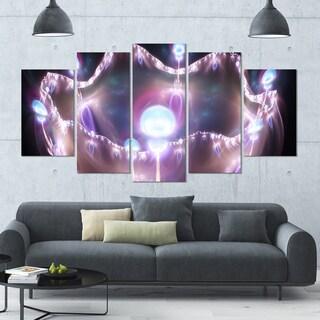 Designart '3D Surreal Purple Illustration' Abstract Wall Art on Canvas - 60x32 - 5 Panels Diamond Shape