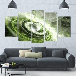 Designart 'Green Fractal Flying Saucer' 60x32 5-panel Diamond Shaped Abstract Wall Art on Canvas