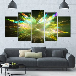 Designart 'Fractal Explosion of Paint Drops' Abstract Wall Art on Canvas - 60x32 - 5 Panels Diamond Shape