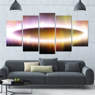 Designart 'Large Oval of Northern Lights' 60x32 5-panel Diamond Shaped Abstract Art on Canvas