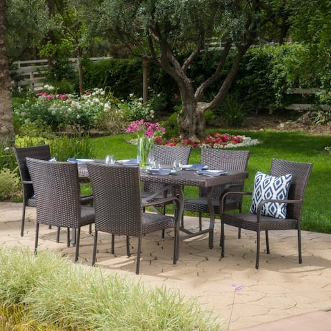 Warwick Outdoor 7-piece Rectangle Dining Set by Christopher Knight Home