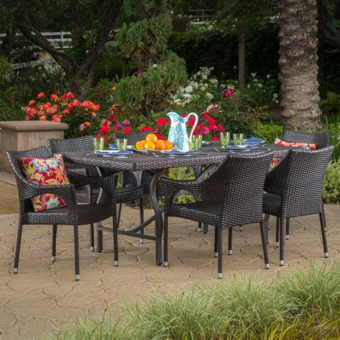 Wales Outdoor 7-piece Rectangle Dining Set by Christopher Knight Home