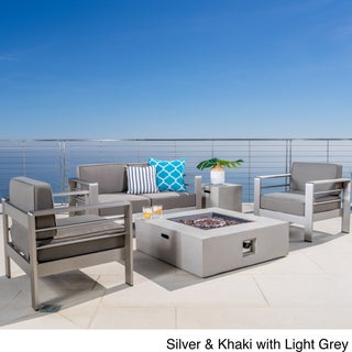 Cape Coral Outdoor 5-piece Aluminum Chat Set with Fire Pit by Christopher Knight Home