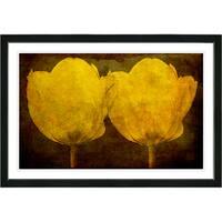Studio Works Modern Framed Fine Art Floral Still Life Painting 'Golden Twin Tulips' Wall Art Giclee Print by Zhee Singer