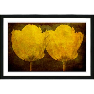 Studio Works Modern Framed Fine Art Floral Still Life Painting 'Golden Twin Tulips' Wall Art Giclee Print by Zhee Singer