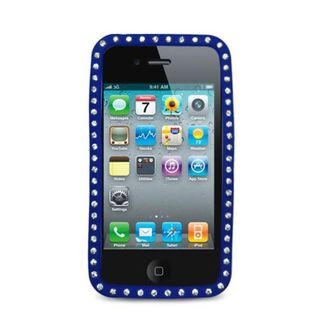 Insten Blue Soft Silicone Skin Rubber Case Cover with Diamond For Apple iPhone 4