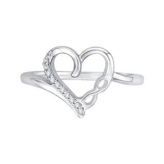 14K White Gold Diamond Heart Infinity Ring