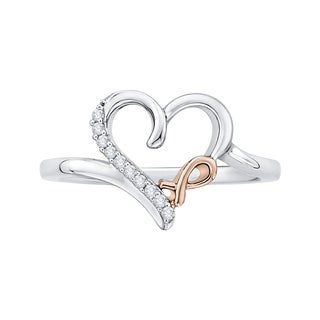 14K Two-Tone Gold Diamond Accent Bow and Heart Ring (More options available)