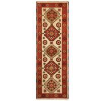 Herat Oriental Indo Hand-knotted Tribal Kazak Wool Runner - 2'2 x 6'7