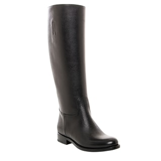 Prada Saffiano Leather Knee-high Boots Size 8 in Black (As Is Item)